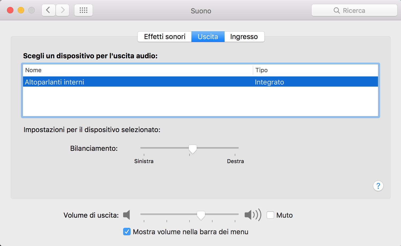 audio del Mac non funziona