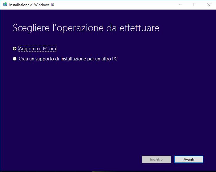 aggiornamento windows 10 - installazione